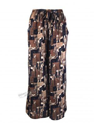 Fusta-pantalon, albastru cu imprimeu geometric, 2 buzunare, cordon și elastic la talie