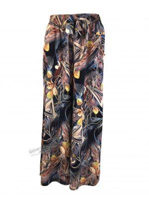 Fusta-pantalon, albastru cu imprimeu multicolor, 2 buzunare, cordon și elastic la talie