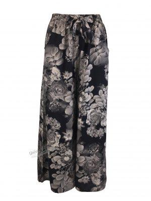 Fusta-pantalon, negru cu imprimeu floral, 2 buzunare, cordon și elastic la talie