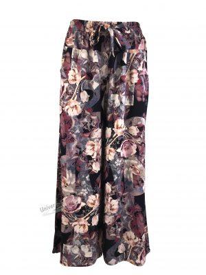 Fusta-pantalon, negru cu imprimeu floral mov, 2 buzunare, cordon și elastic la talie