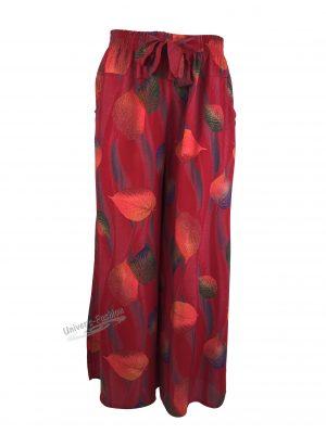 Fusta-pantalon, rosu cu imprimeu frunze, 2 buzunare, cordon și elastic la talie