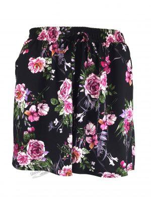 Fusta-pantalon scurta, culoare neagra cu imprimeu floral fucsia, 2 buzunare, cordon si elastic la talie