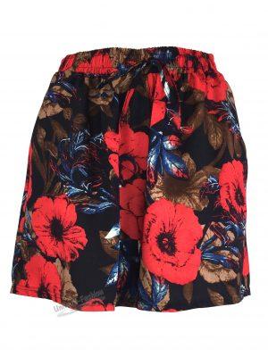 Fusta-pantalon scurta, culoare neagra cu imprimeu floral rosu, 2 buzunare, cordon si elastic la talie