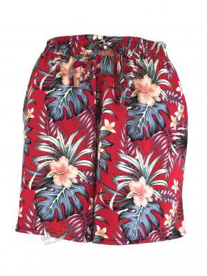 Fusta-pantalon scurta, rosu cu imprimeu floral multicolor, 2 buzunare, cordon si elastic la talie