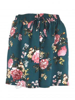 Fusta-pantalon scurta, verde cu imprimeu floral multicolor, 2 buzunare, cordon si elastic la talie