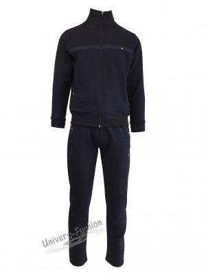 Trening barbat, culoare albastru, jacheta cu 2 buzunare cu fermoare, pantaloni cu 3 buzunare cu fermoare