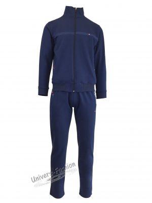 Trening barbat, culoare indigo, jacheta cu 2 buzunare cu fermoare, pantaloni cu 3 buzunare cu fermoare