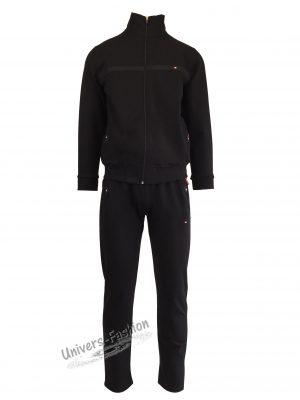 Trening barbat, culoare neagra, jacheta cu 2 buzunare cu fermoare, pantaloni cu 3 buzunare cu fermoare