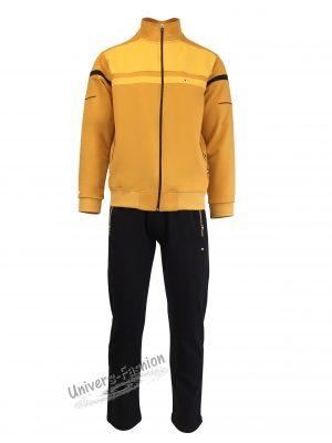 Trening barbat, jacheta culoare galben, cu 2 buzunare cu fermoare, pantaloni negru cu 3 buzunare cu fermoare