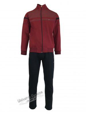 Trening barbat, jacheta culoare grena, cu 2 buzunare cu fermoare, pantaloni negru cu 3 buzunare cu fermoare