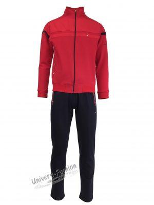Trening barbat, jacheta culoare rosu, cu 2 buzunare cu fermoare, pantaloni albastru cu 3 buzunare cu fermoare