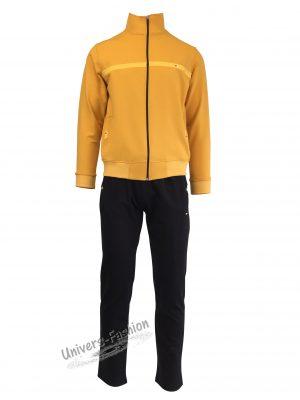 Trening barbat, jacheta galben, cu 2 buzunare cu fermoare, pantaloni negru cu 3 buzunare cu fermoare