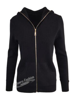 Cardigan tricotat, inchidere cu fermoar, negru