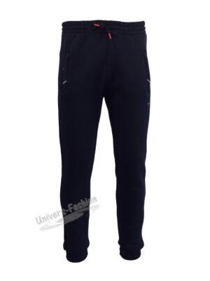 Pantaloni trening barbat, 2 buzunare laterale cu fermoare și un buzunar la spate cu fermoar, vatuit la interior, albastru