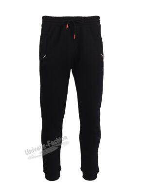 Pantaloni trening barbat, 2 buzunare laterale cu fermoare și un buzunar la spate cu fermoar, vatuit la interior, negru