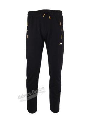 Pantaloni trening barbat, 2 buzunare laterale și un buzunar la spate cu fermoare, culoare neagra