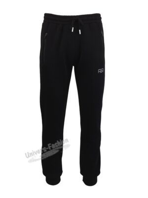 Pantaloni trening barbat, vatuit la interior, cu 2 buzunare laterale cu fermoare și un buzunar la spate cu fermoar, negru