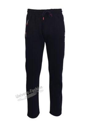 Pantaloni trening barbat, vatuit la interior, cu 2 buzunare laterale și un buzunar la spate cu fermoare, albastru