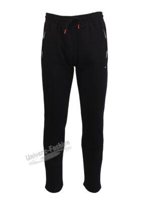 Pantaloni trening barbat, vatuit la interior, cu 2 buzunare laterale și un buzunar la spate cu fermoare, negru