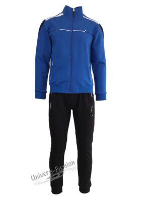 Trening barbat, bluza albastru cu 2 buzunare cu fermoare, pantaloni negru cu 3 buzunare cu fermoare