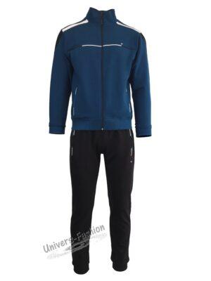 Trening barbat, bluza albastru petrol cu 2 buzunare cu fermoare, pantaloni negru cu 3 buzunare cu fermoare