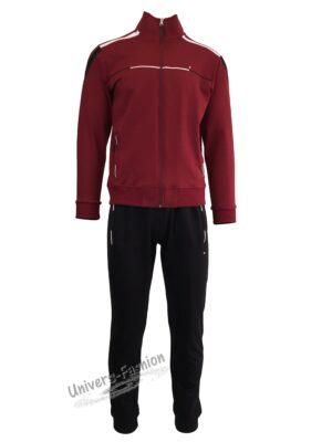 Trening barbat, bluza grena cu 2 buzunare cu fermoare, pantaloni negru cu 3 buzunare cu fermoare